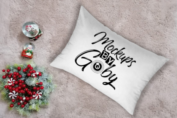 White Pillow Mockup, Flat Lays Image Graphic Product Mockups By MockupsByGaby