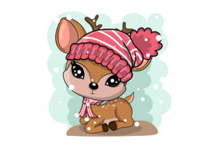 Winter Illustration of Cute Deer in Hats Graphic Illustrations By maniacvector