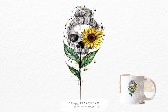 Woman Skull Sunflower Graphic Crafts By Chonnieartwork