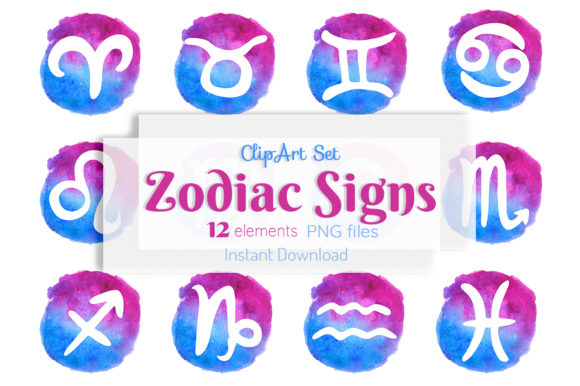 Zodiac Signs Watercolor Clipart Graphic Illustrations By SweetRenieShop
