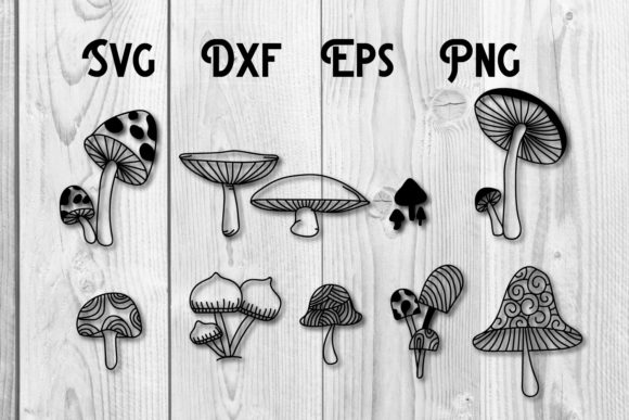 Print on Demand: Mushrooms Hand Drawn Svg Cut File Graphic Print Templates By dadan_pm