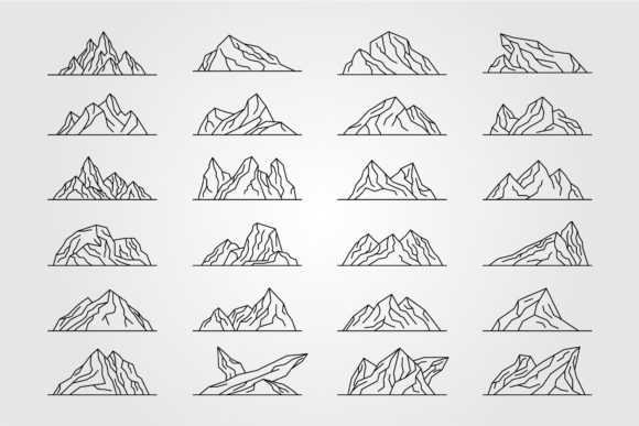 Set of Mountains Line Art Logo Vector Graphic Objects By lawoel