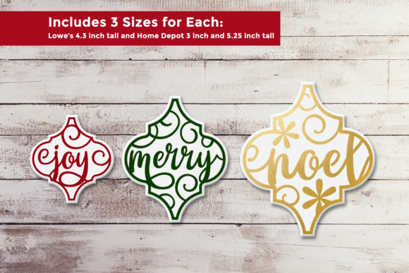 Arabesque Tile Christmas Words Trio SVG Graphic Crafts By RisaRocksIt