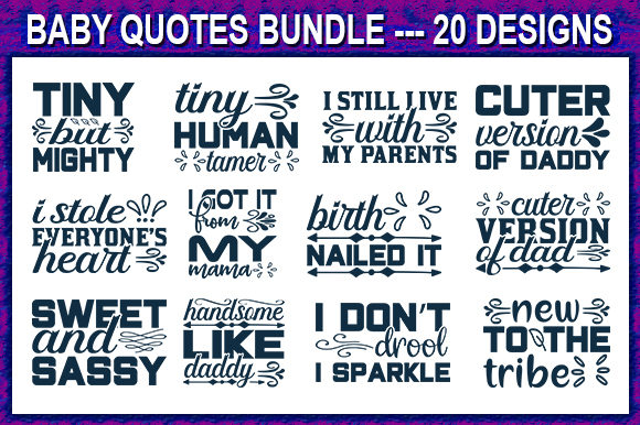 Print on Demand: Baby Quote Designs Bundle Graphic Print Templates By store_svg