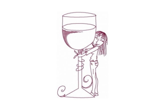 Big Wine Glass Wine & Drinks Embroidery Design By Sew Terific Designs