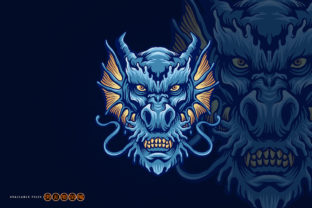 Print on Demand: Blue Angry Dragon Head Logo Mascot Gráfico Ilustraciones Por artgrarisstudio