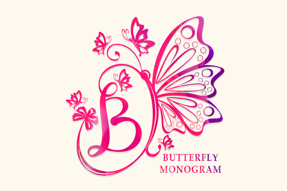 Print on Demand: Butterfly Monogram Dekorativ Schriftarten von utopiabrand19