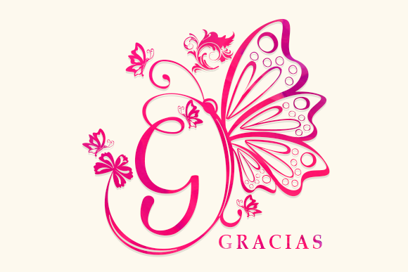 Butterfly Monogram Font Image