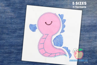 Cartoon Seahorse Marine Mammals Embroidery Design By embroiderydesigns101