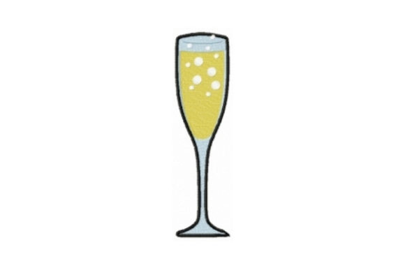 Champagne Flute Wine & Drinks Embroidery Design By Sew Terific Designs