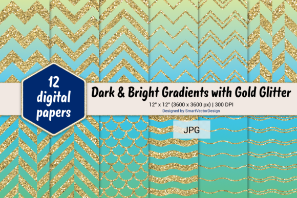 Print on Demand: Chevron, Scales, & Waves - Gradients #14 Graphic Backgrounds By SmartVectorDesign