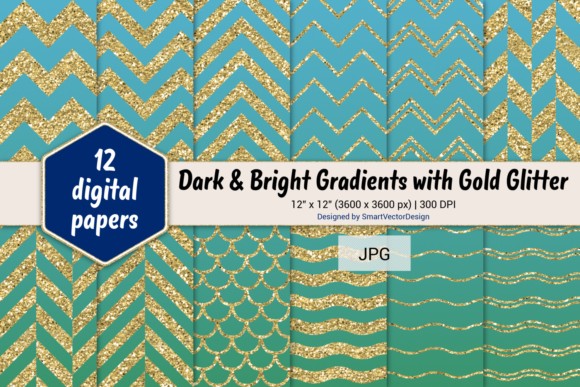 Print on Demand: Chevron, Scales, & Waves - Gradients #19 Graphic Backgrounds By SmartVectorDesign