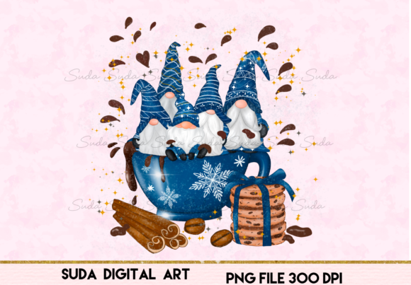 Print on Demand: Christmas Blue Mug Gnomes Sublimation Graphic Illustrations By Suda Digital Art