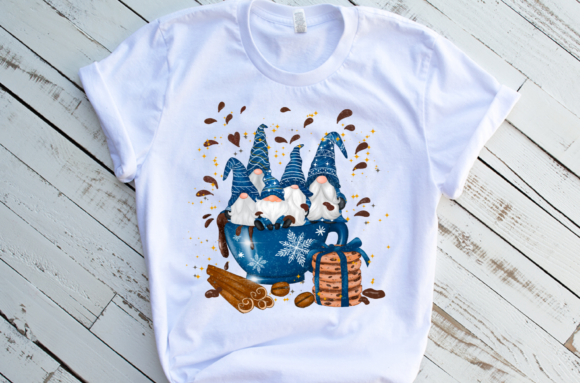 Christmas Blue Mug Gnomes Sublimation Graphic Download
