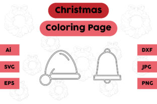Christmas Coloring Page Bell Hat Set Graphic Coloring Pages & Books Kids By isalsemarang