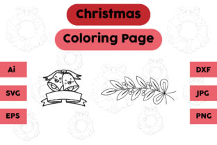 Christmas Coloring Page Bell Leaf Set Graphic Coloring Pages & Books Kids By isalsemarang