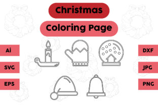 Christmas Coloring Page Candle Glove Set Graphic Coloring Pages & Books Kids By isalsemarang