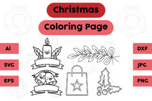 Christmas Coloring Page Candle Plum Set Graphic Coloring Pages & Books Kids By isalsemarang