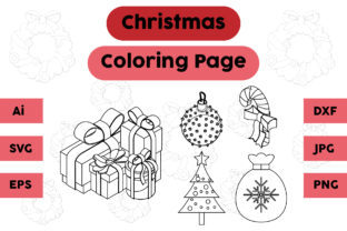 Christmas Coloring Page Gift Candy Set Graphic Coloring Pages & Books Kids By isalsemarang