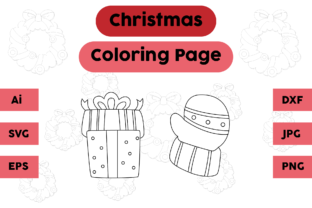 Christmas Coloring Page Gift Gloves Set Graphic Coloring Pages & Books Kids By isalsemarang