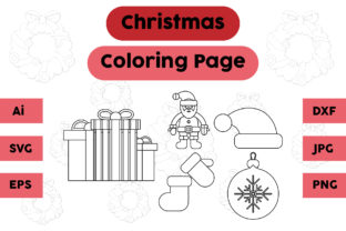 Christmas Coloring Page Gift Hat Set Graphic Coloring Pages & Books Kids By isalsemarang