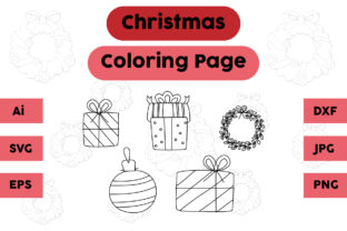 Christmas Coloring Page Gift Lamp Set Graphic Coloring Pages & Books Kids By isalsemarang