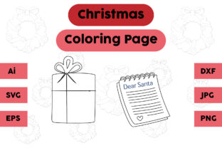 Christmas Coloring Page Gift Note Set Graphic Coloring Pages & Books Kids By isalsemarang
