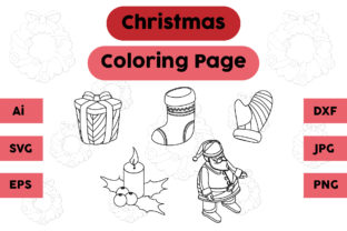 Christmas Coloring Page Gift Socks Set Graphic Coloring Pages & Books Kids By isalsemarang
