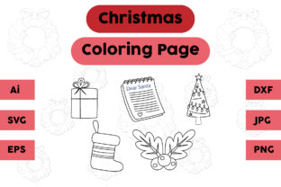 Christmas Coloring Page Gift Tree Set Graphic Coloring Pages & Books Kids By isalsemarang