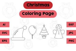 Christmas Coloring Page Hat Balloon Set Graphic Coloring Pages & Books Kids By isalsemarang