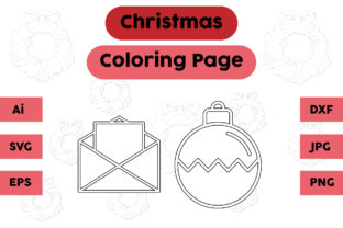 Christmas Coloring Page Letter Lamp Set Graphic Coloring Pages & Books Kids By isalsemarang