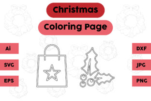 Christmas Coloring Page Plum Bag Set Graphic Coloring Pages & Books Kids By isalsemarang