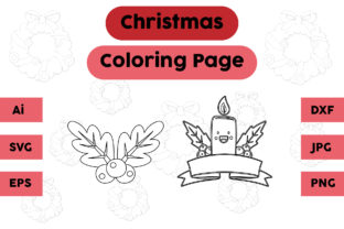 Christmas Coloring Page Plum Candle Set Graphic Coloring Pages & Books Kids By isalsemarang