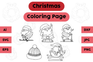 Christmas Coloring Page Santa Hat Set Graphic Coloring Pages & Books Kids By isalsemarang