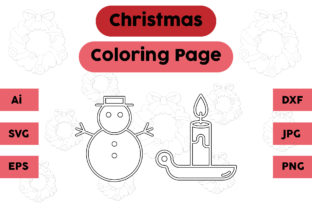 Christmas Coloring Page Snow Candle Set Graphic Coloring Pages & Books Kids By isalsemarang