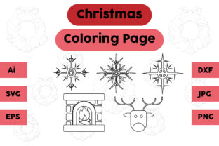 Christmas Coloring Page Snow Deer Set Graphic Coloring Pages & Books Kids By isalsemarang