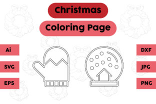 Christmas Coloring Page Snow Gloves Set Graphic Coloring Pages & Books Kids By isalsemarang