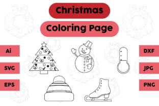 Christmas Coloring Page Snow Hat Set Graphic Coloring Pages & Books Kids By isalsemarang