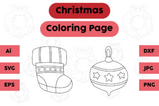Christmas Coloring Page Socks Set Graphic Coloring Pages & Books Kids By isalsemarang