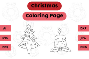 Christmas Coloring Page Tree Candle Set Graphic Coloring Pages & Books Kids By isalsemarang