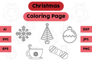 Christmas Coloring Page Tree Lamp Set Graphic Coloring Pages & Books Kids By isalsemarang
