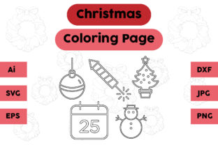 Christmas Coloring Page Tree Snow Set Graphic Coloring Pages & Books Kids By isalsemarang