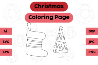 Christmas Coloring Page Tree Socks Set Graphic Coloring Pages & Books Kids By isalsemarang