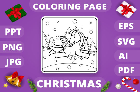 Print on Demand: Christmas Coloring Page for Kids #1 V4 Graphic Coloring Pages & Books Kids By MikeToon Studio