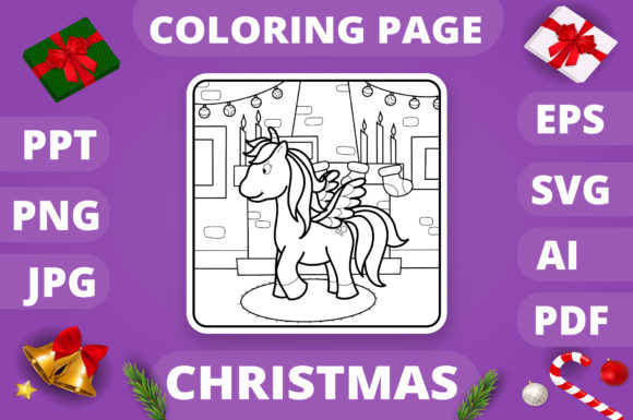 Christmas Coloring Page for Kids #10 V4 Graphic