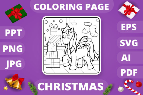 Print on Demand: Christmas Coloring Page for Kids #11 V4 Graphic Coloring Pages & Books Kids By MikeToon Studio