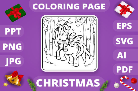 Christmas Coloring Page for Kids #12 V4 Graphic