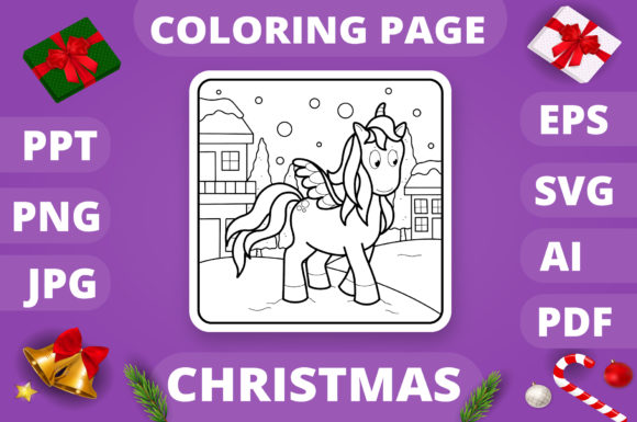 Print on Demand: Christmas Coloring Page for Kids #13 V4 Graphic Coloring Pages & Books Kids By MikeToon Studio