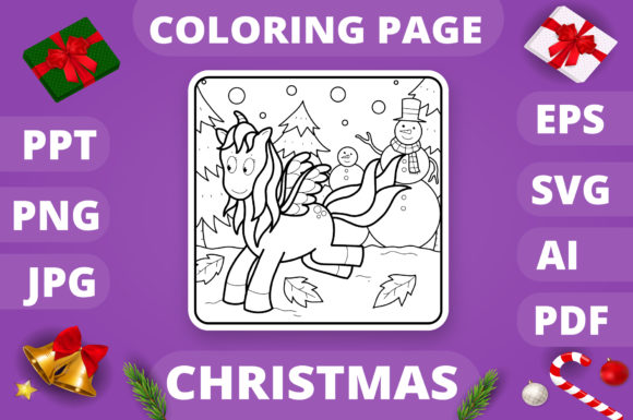 Christmas Coloring Page for Kids #15 V4 Graphic