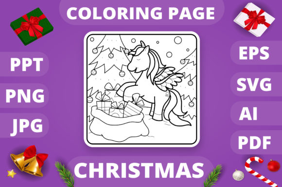 Christmas Coloring Page for Kids #16 V4 Graphic
